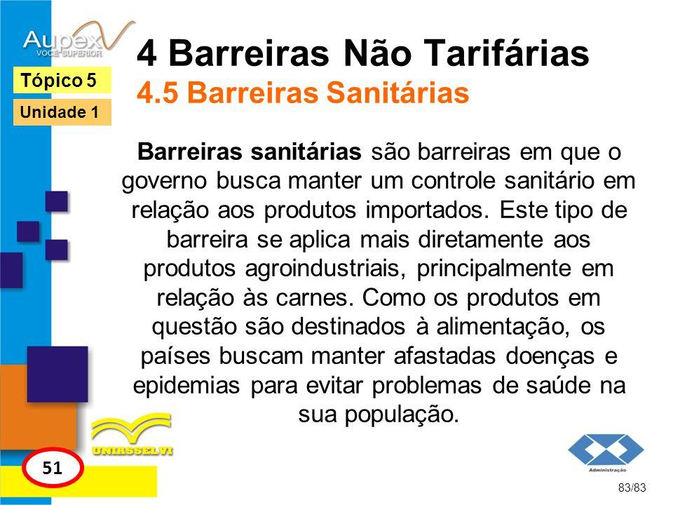 4 Barreiras Não Tarifárias 4.5 Barreiras Sanitárias