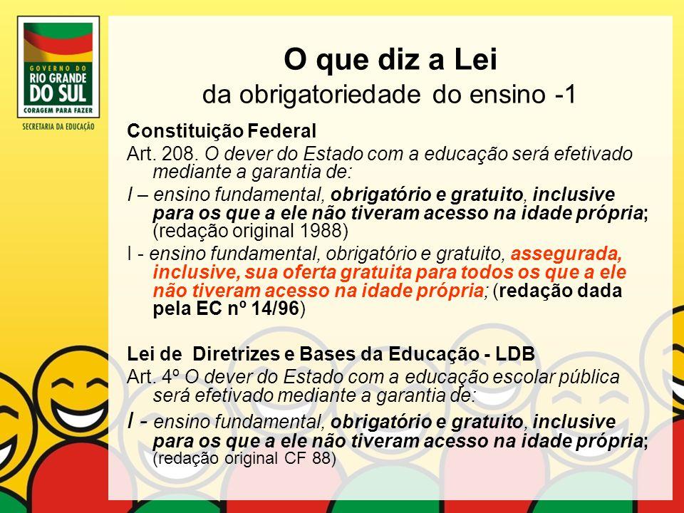 O que diz a Lei da obrigatoriedade do ensino -1
