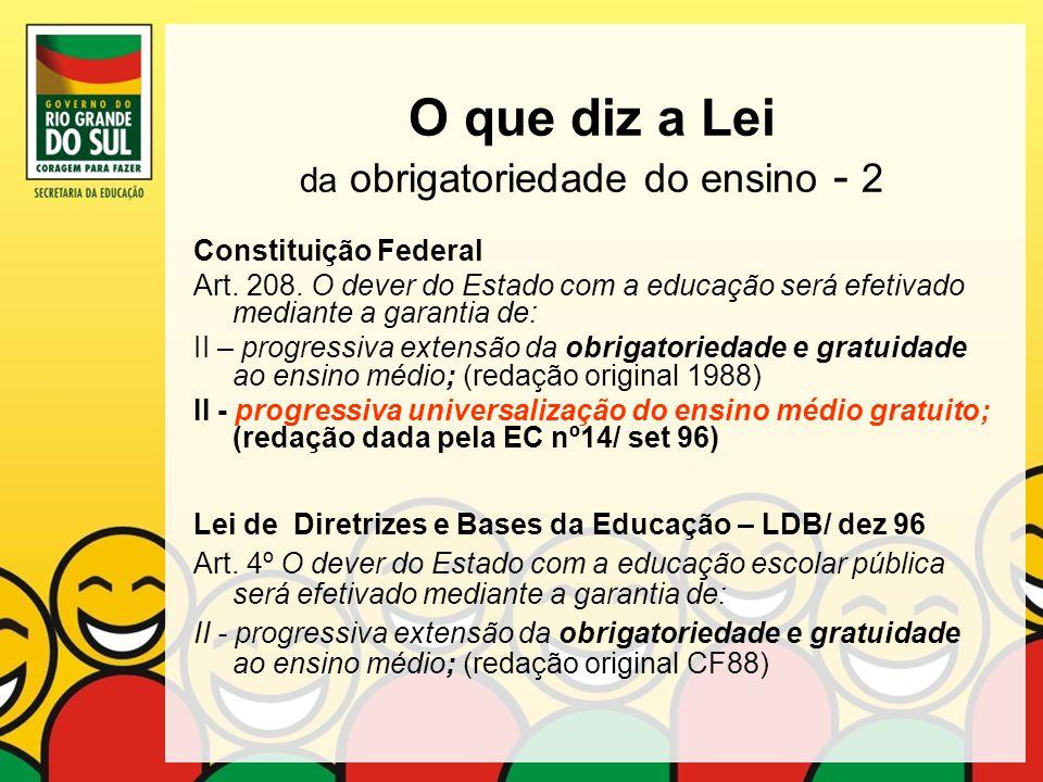 O que diz a Lei da obrigatoriedade do ensino - 2