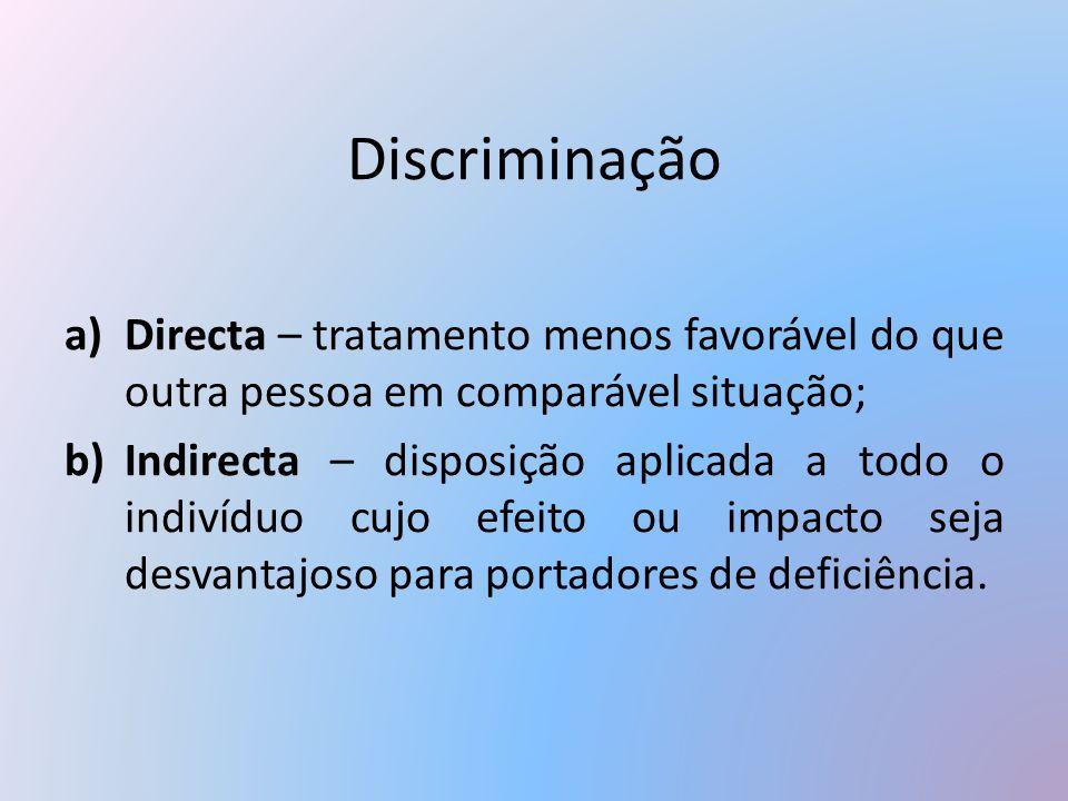 Discriminação Directa – tratamento menos favorável do que outra pessoa em comparável situação;