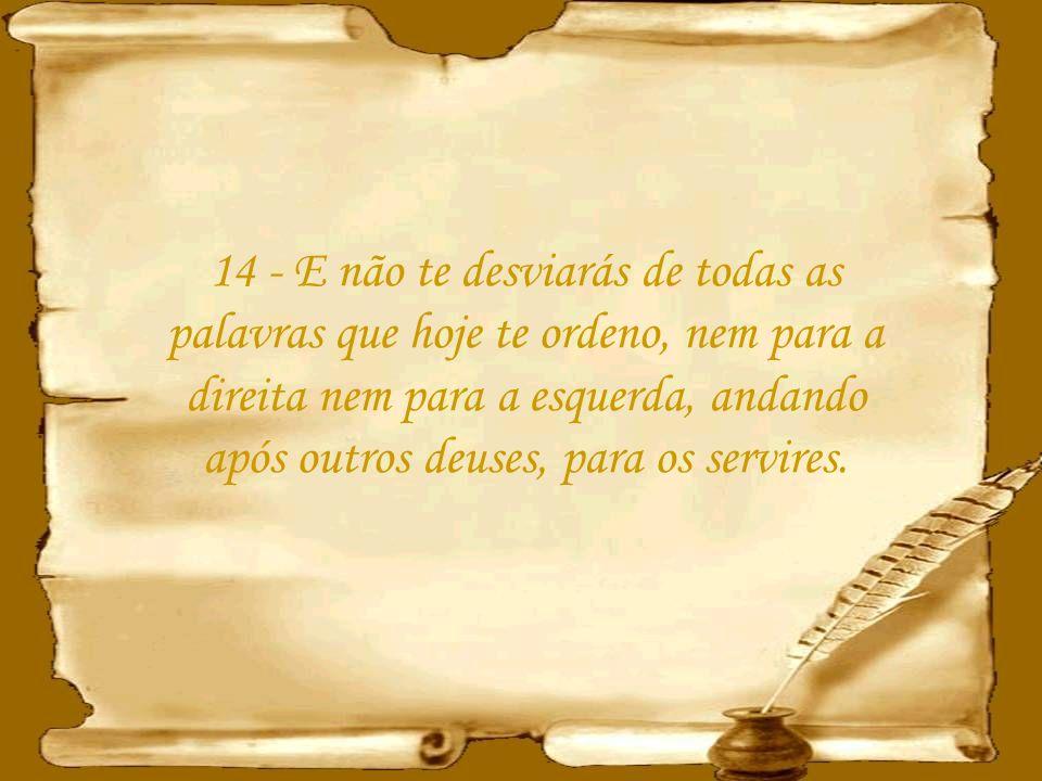 14 - E não te desviarás de todas as palavras que hoje te ordeno, nem para a direita nem para a esquerda, andando após outros deuses, para os servires.