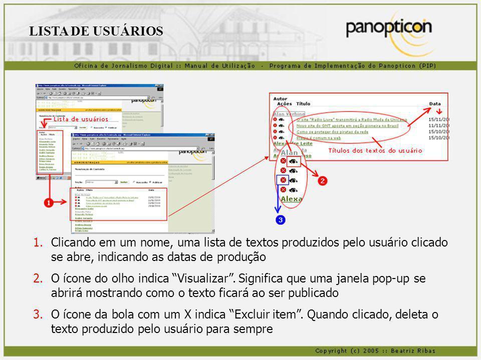 LISTA DE USUÁRIOS Clicando em um nome, uma lista de textos produzidos pelo usuário clicado se abre, indicando as datas de produção.