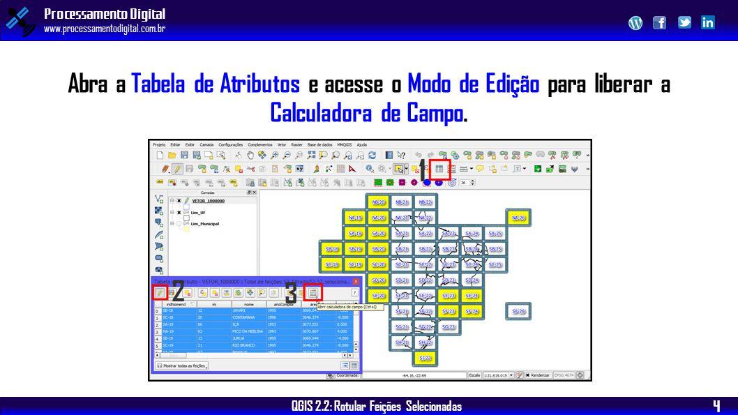 Abra a Tabela de Atributos e acesse o Modo de Edição para liberar a Calculadora de Campo.