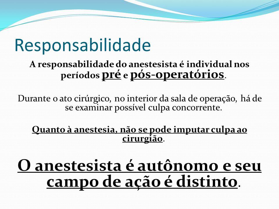 Responsabilidade A responsabilidade do anestesista é individual nos períodos pré e pós-operatórios.