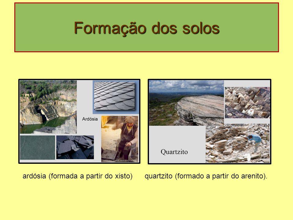 Formação dos solos ardósia (formada a partir do xisto)