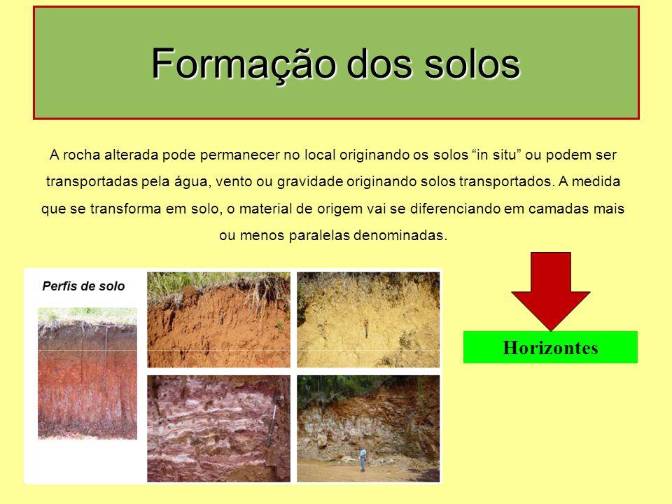 Formação dos solos Horizontes