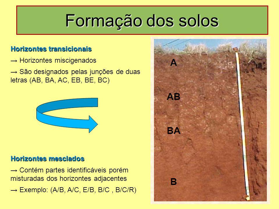 Formação dos solos Horizontes transicionais → Horizontes miscigenados