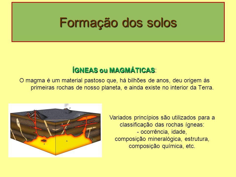 composição mineralógica, estrutura, composição química, etc.