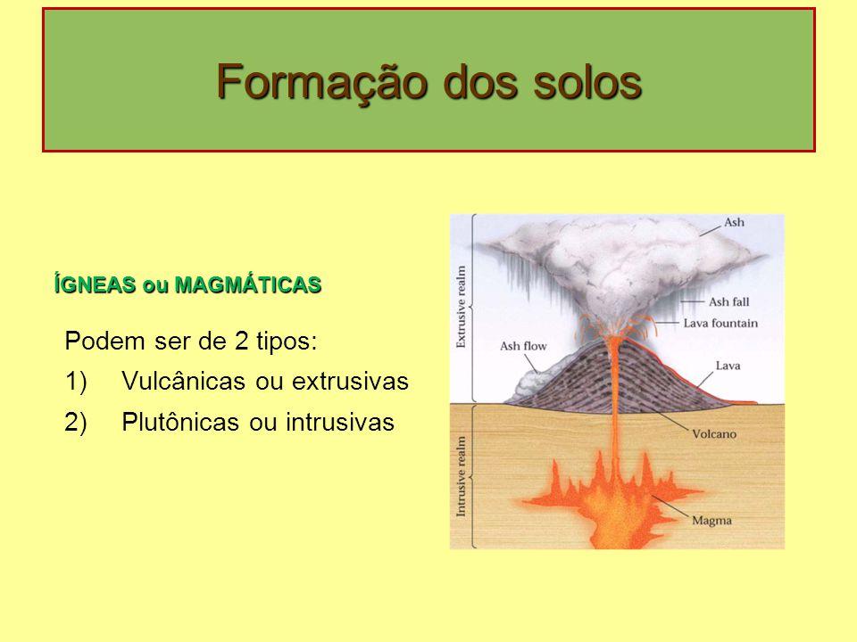 Formação dos solos Podem ser de 2 tipos: Vulcânicas ou extrusivas