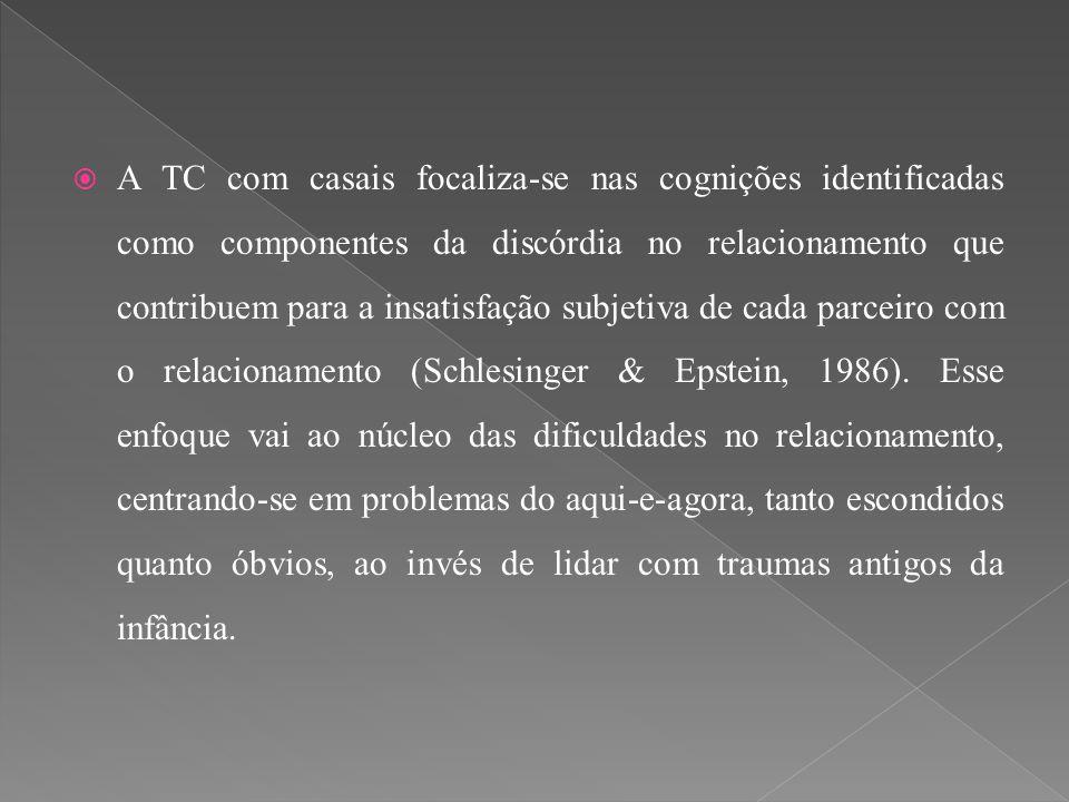 A TC com casais focaliza-se nas cognições identificadas como componentes da discórdia no relacionamento que contribuem para a insatisfação subjetiva de cada parceiro com o relacionamento (Schlesinger & Epstein, 1986).