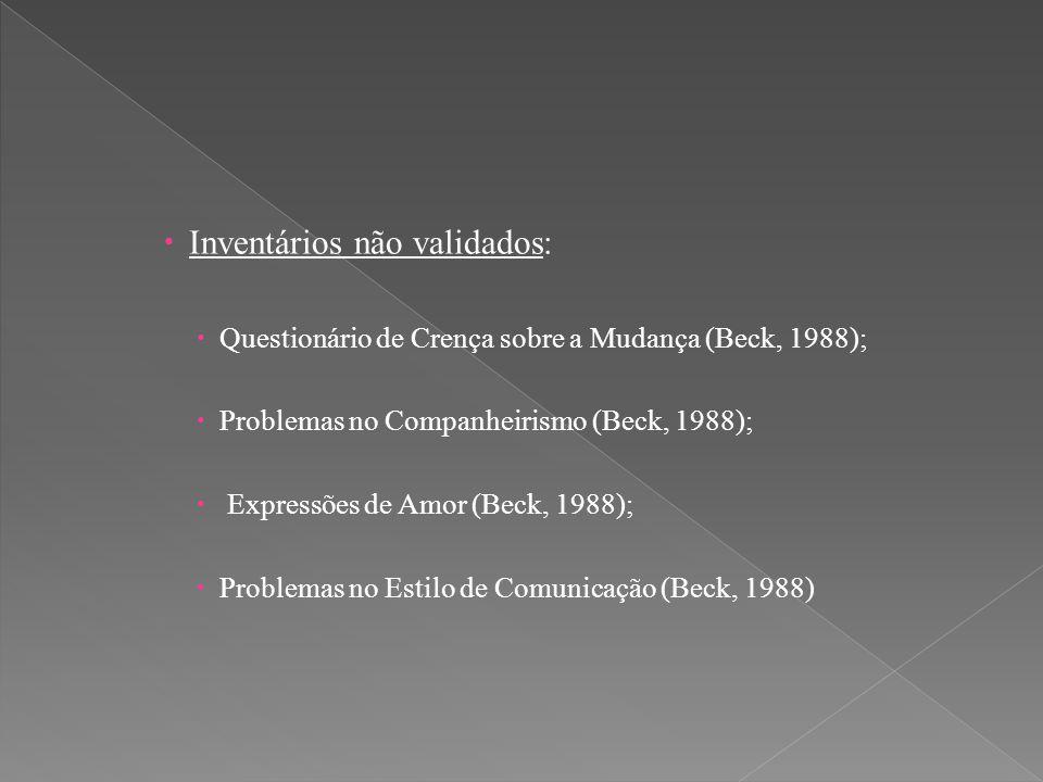 Inventários não validados: