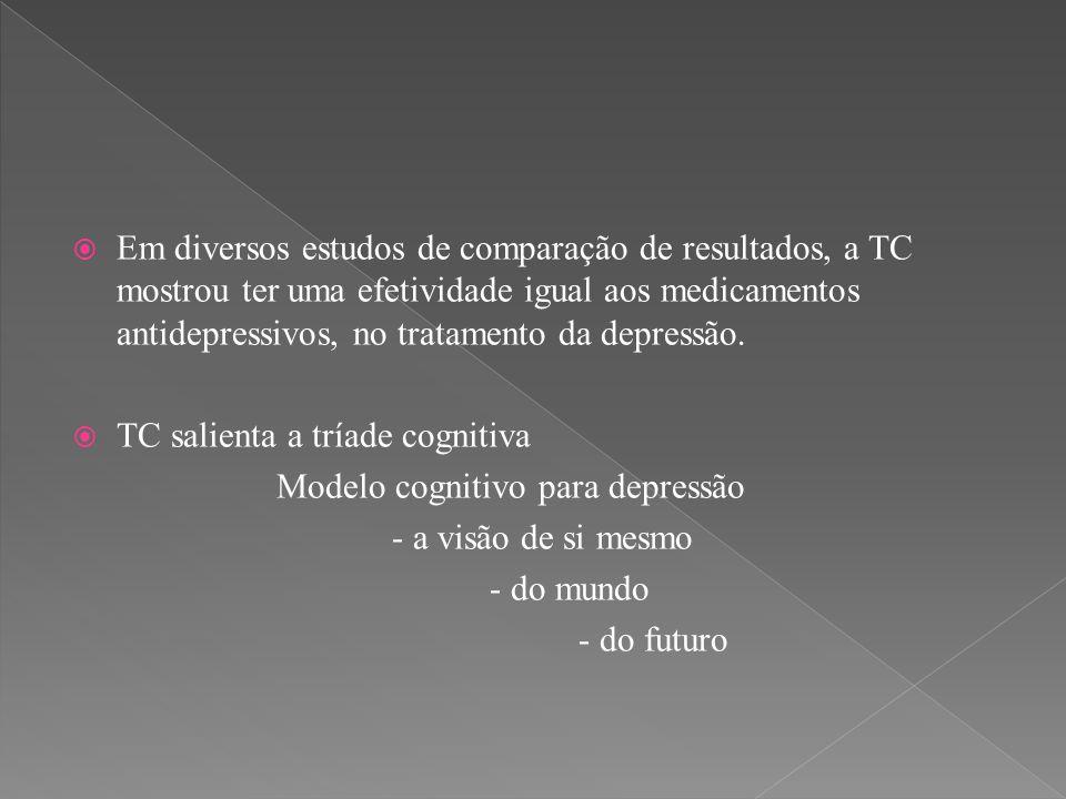 Em diversos estudos de comparação de resultados, a TC mostrou ter uma efetividade igual aos medicamentos antidepressivos, no tratamento da depressão.