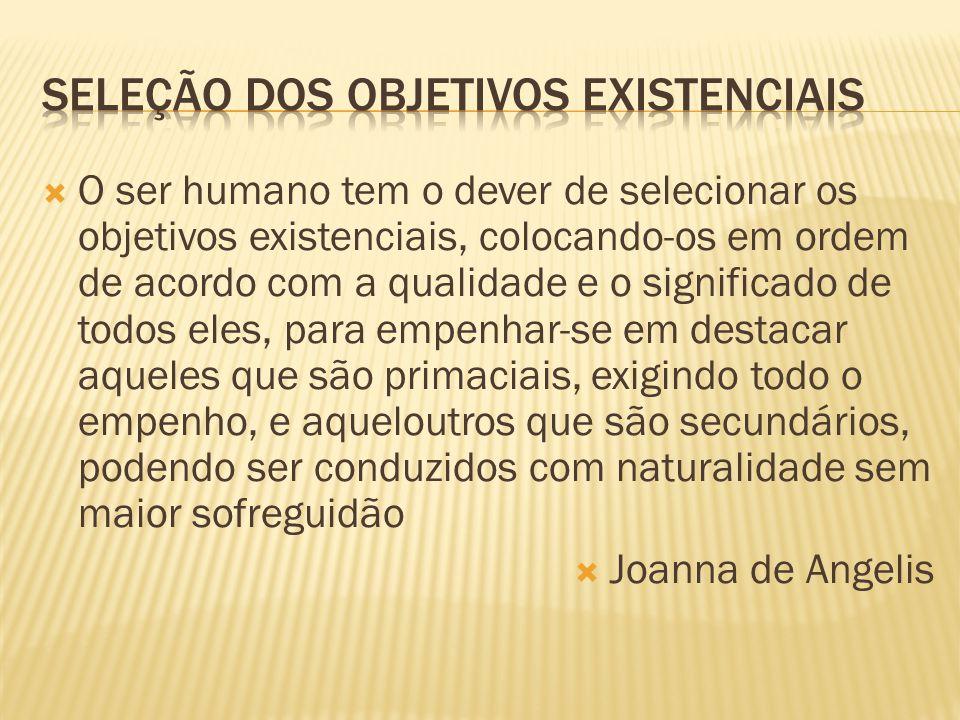 Seleção dos objetivos existenciais