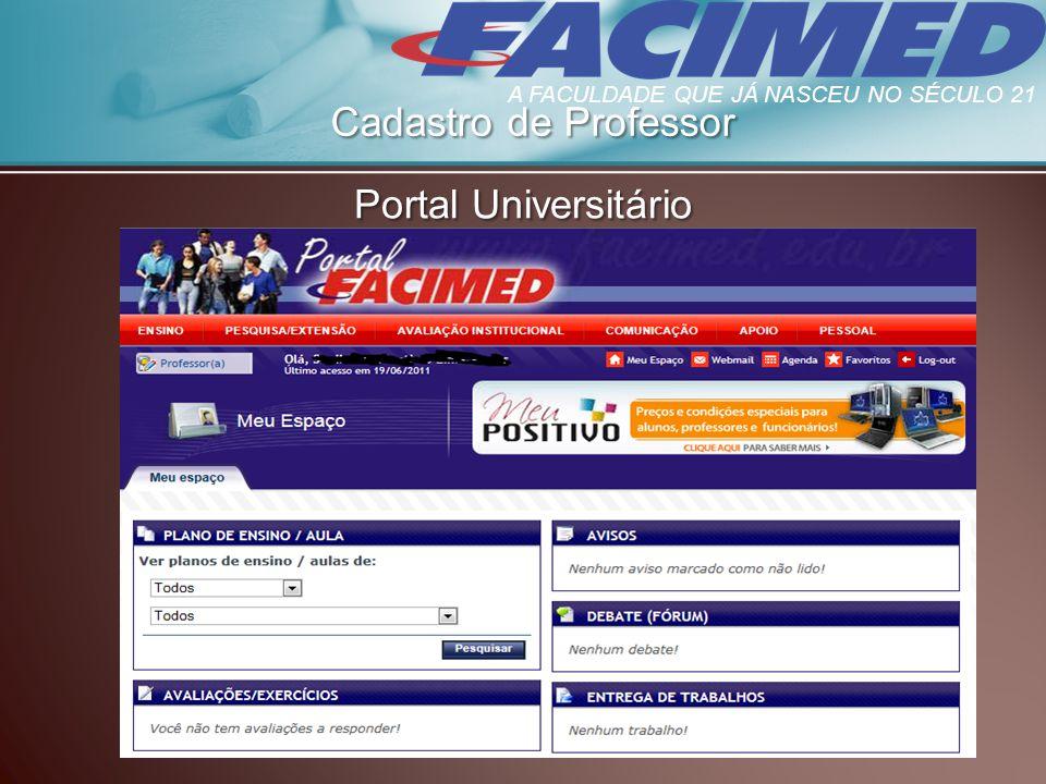 Cadastro de Professor Portal Universitário