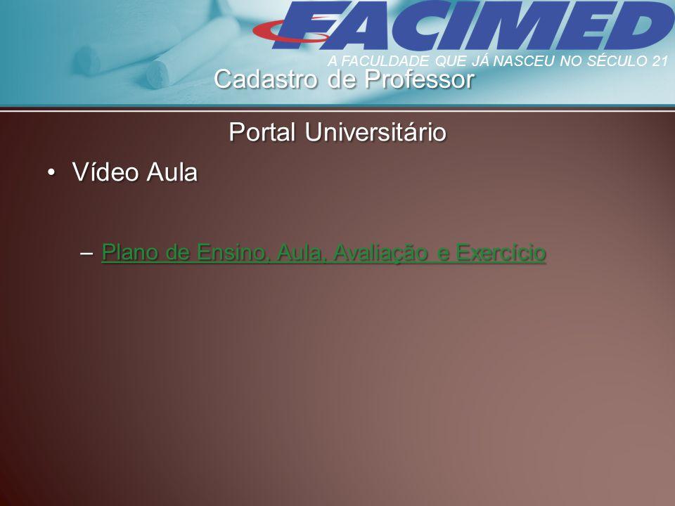 Cadastro de Professor Portal Universitário Vídeo Aula