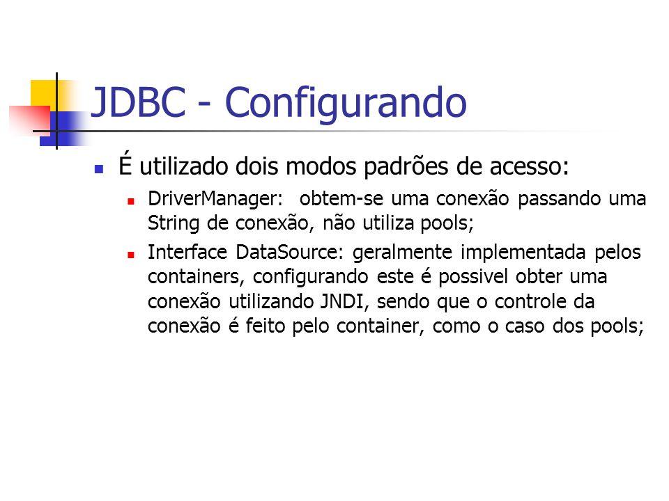 JDBC - Configurando É utilizado dois modos padrões de acesso: