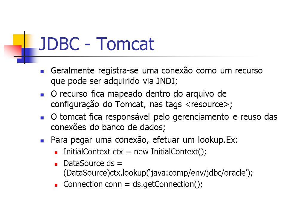 JDBC - Tomcat Geralmente registra-se uma conexão como um recurso que pode ser adquirido via JNDI;