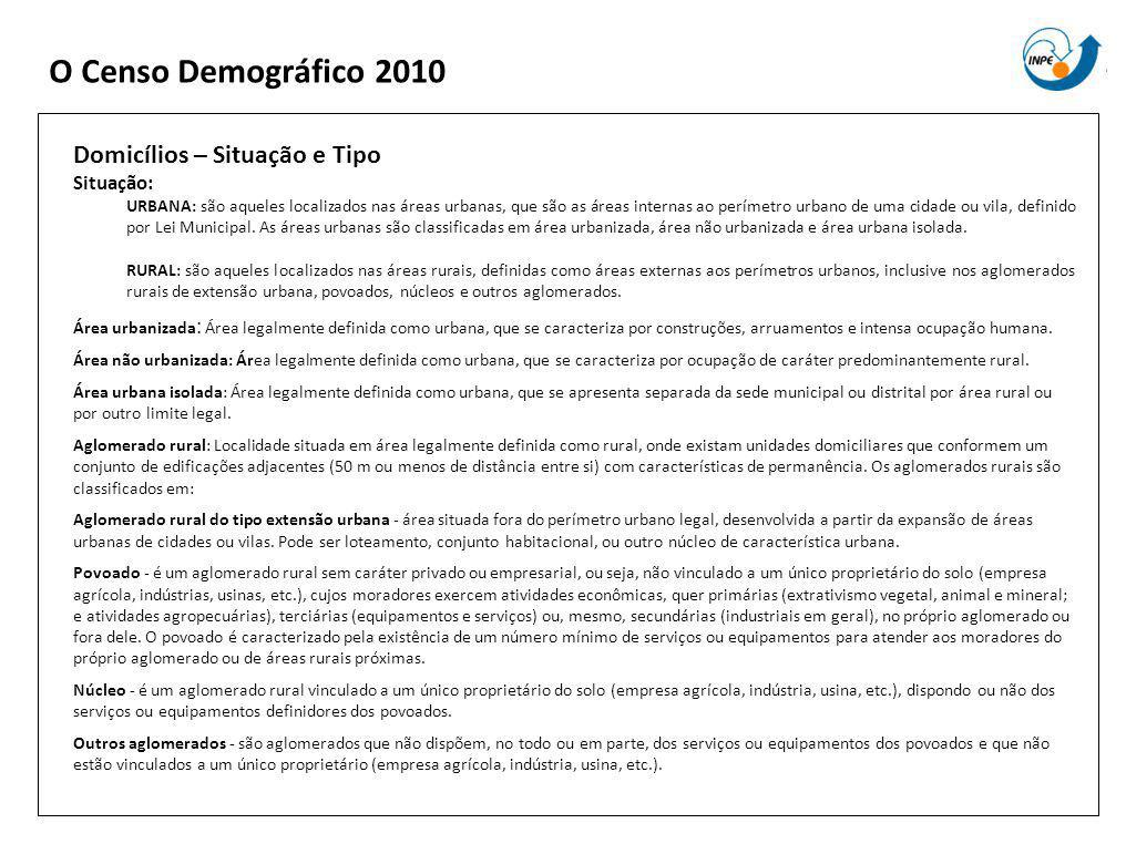 O Censo Demográfico 2010 Domicílios – Situação e Tipo Situação: