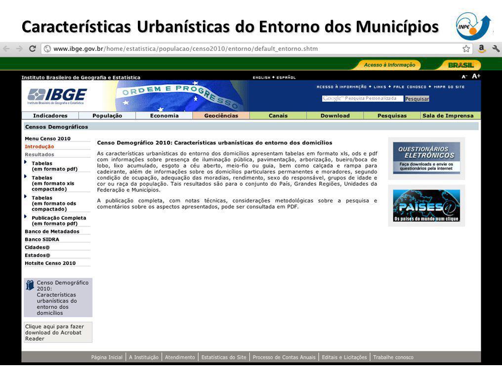 Características Urbanísticas do Entorno dos Municípios