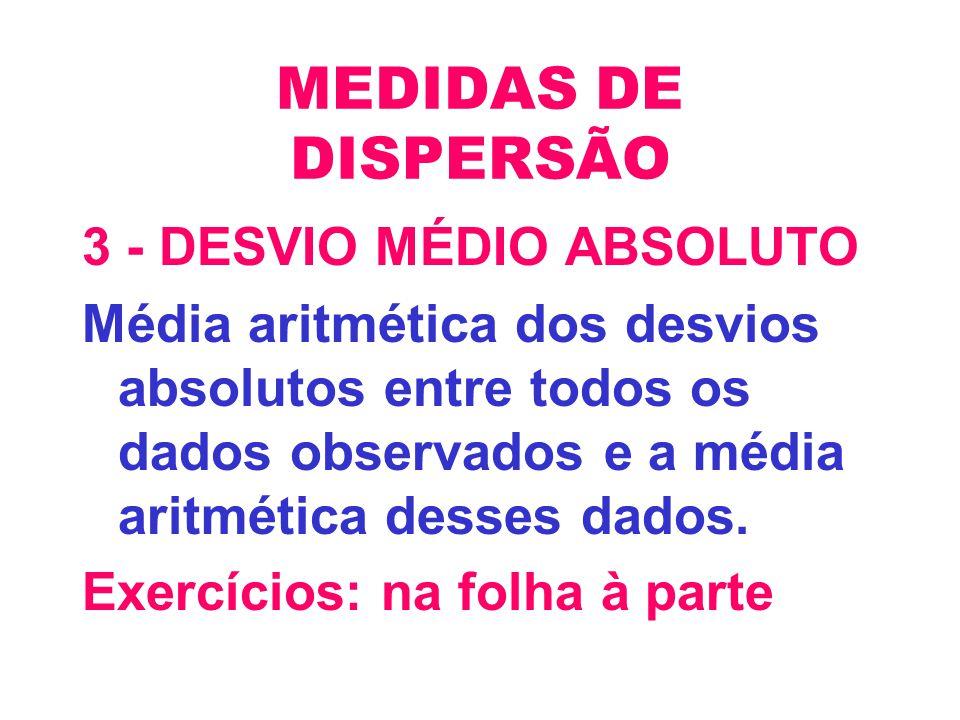 MEDIDAS DE DISPERSÃO 3 - DESVIO MÉDIO ABSOLUTO