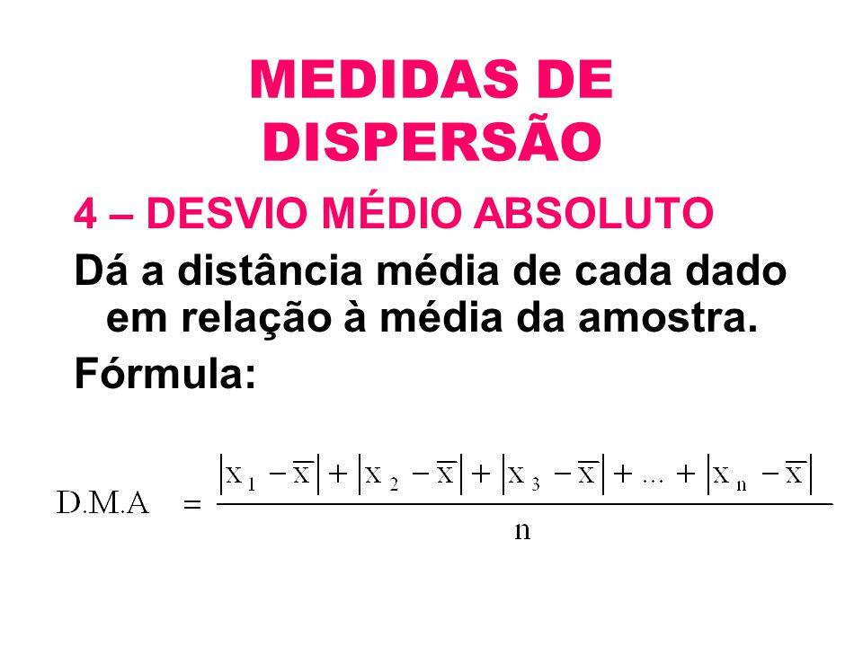 MEDIDAS DE DISPERSÃO 4 – DESVIO MÉDIO ABSOLUTO