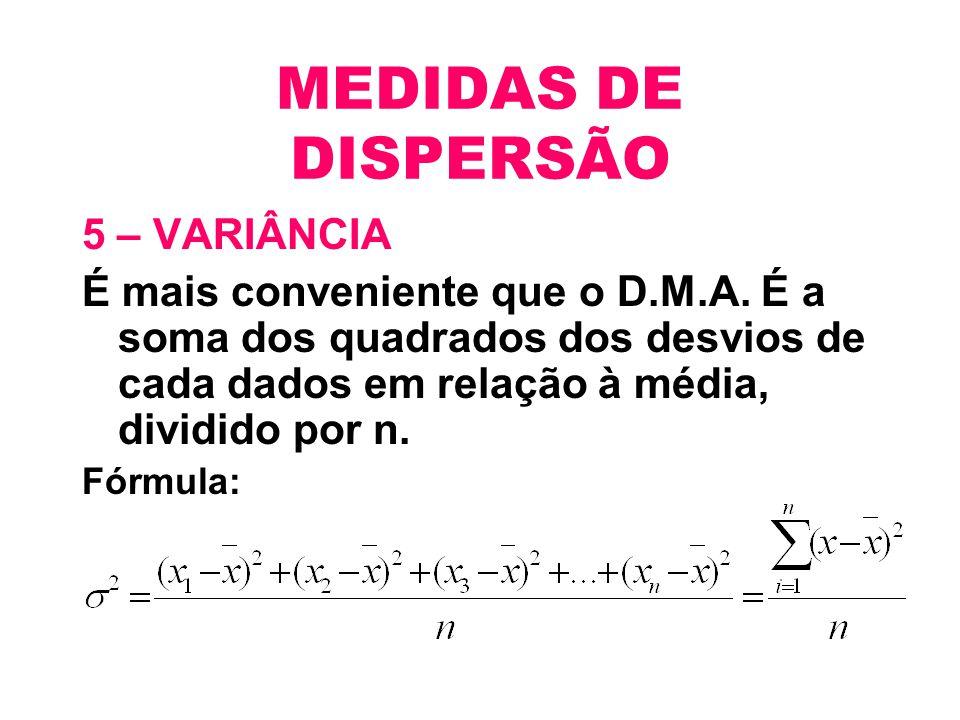 MEDIDAS DE DISPERSÃO 5 – VARIÂNCIA