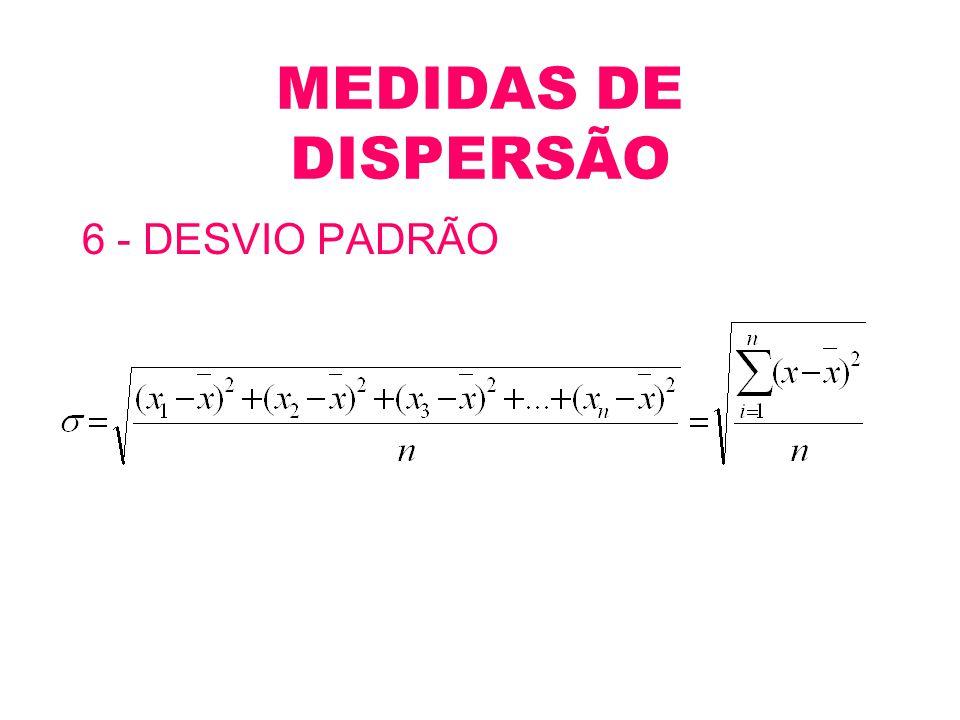 MEDIDAS DE DISPERSÃO 6 - DESVIO PADRÃO