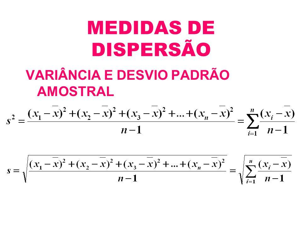 MEDIDAS DE DISPERSÃO VARIÂNCIA E DESVIO PADRÃO AMOSTRAL
