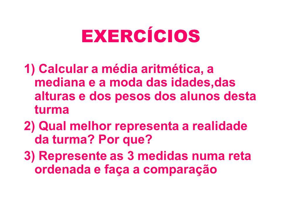 EXERCÍCIOS 1) Calcular a média aritmética, a mediana e a moda das idades,das alturas e dos pesos dos alunos desta turma.