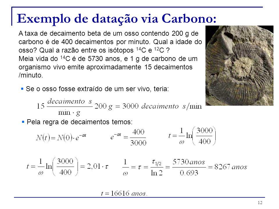 Exemplo de datação via Carbono: