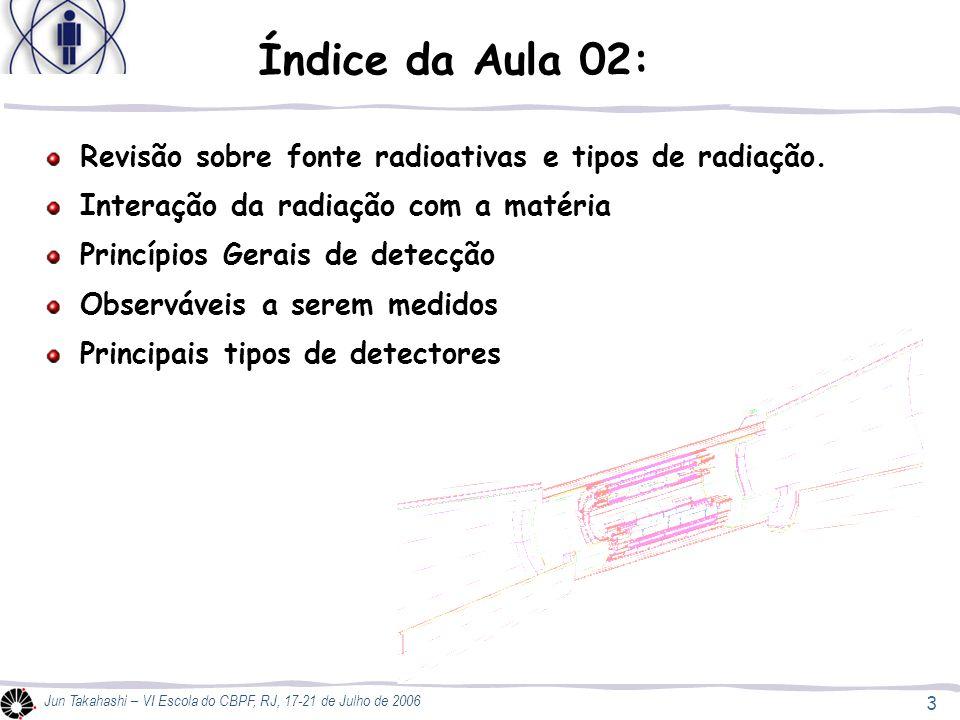 Índice da Aula 02: Revisão sobre fonte radioativas e tipos de radiação. Interação da radiação com a matéria.