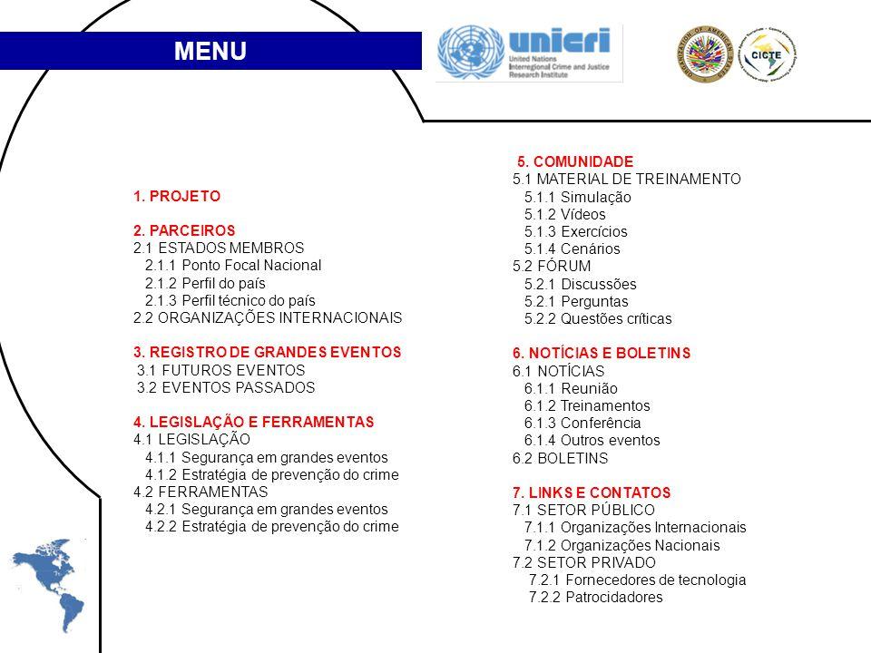 MENU 5. COMUNIDADE 5.1 MATERIAL DE TREINAMENTO 5.1.1 Simulação