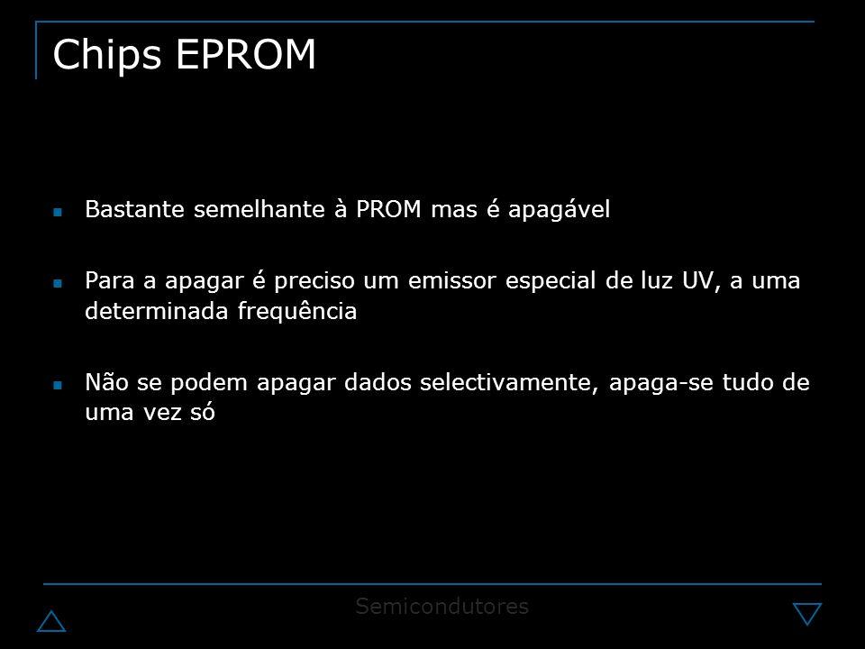 Chips EPROM Bastante semelhante à PROM mas é apagável