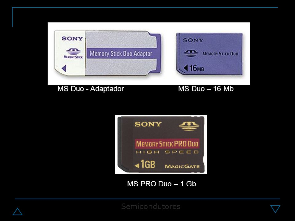 MS Duo - Adaptador MS Duo – 16 Mb MS PRO Duo – 1 Gb Semicondutores