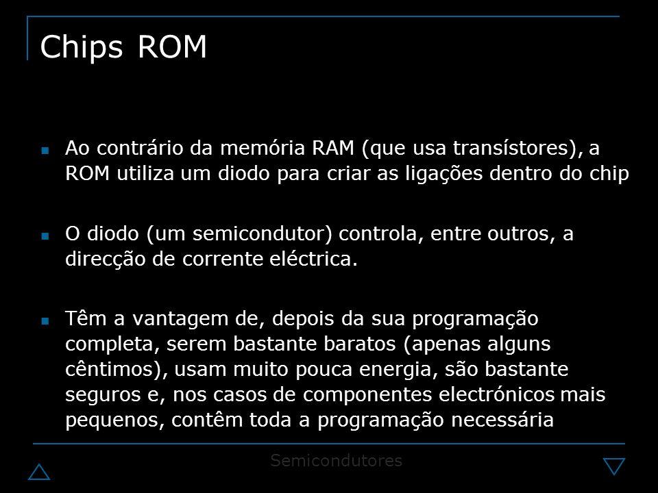 Chips ROM Ao contrário da memória RAM (que usa transístores), a ROM utiliza um diodo para criar as ligações dentro do chip.