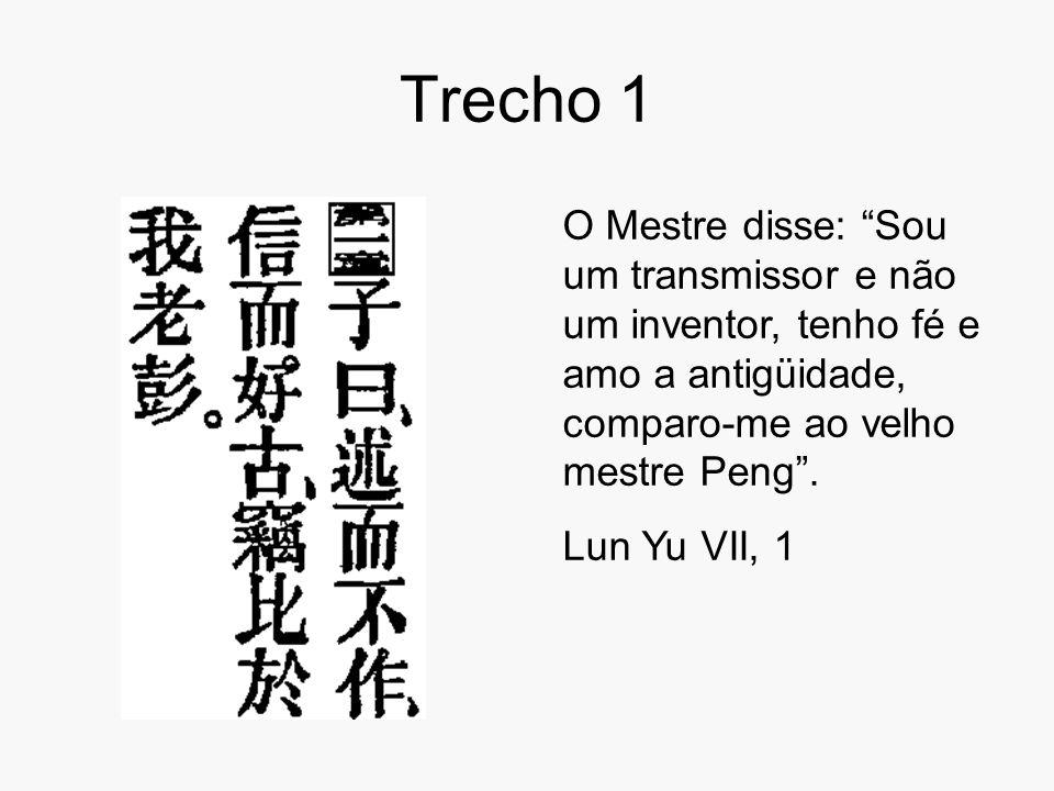 Trecho 1 O Mestre disse: Sou um transmissor e não um inventor, tenho fé e amo a antigüidade, comparo-me ao velho mestre Peng .