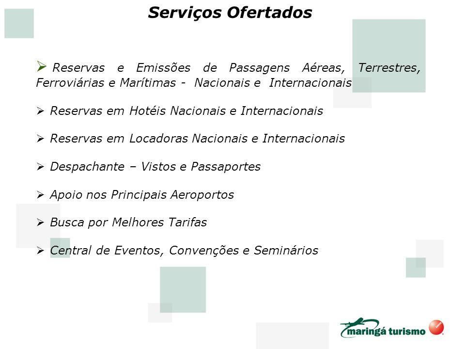Serviços Ofertados Reservas e Emissões de Passagens Aéreas, Terrestres, Ferroviárias e Marítimas - Nacionais e Internacionais.