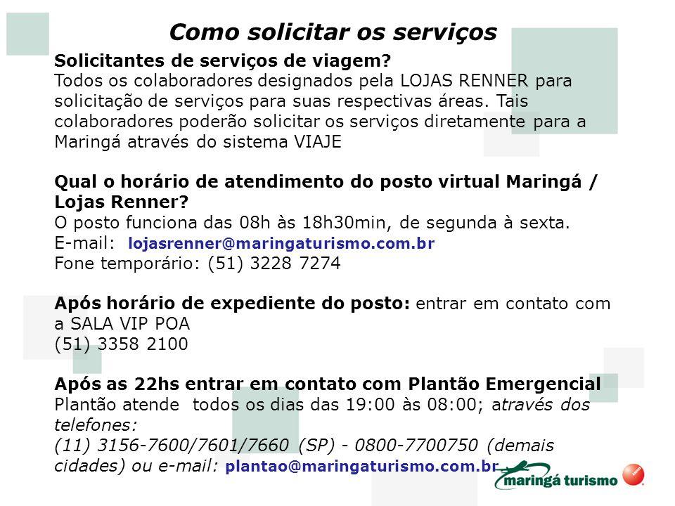 Como solicitar os serviços