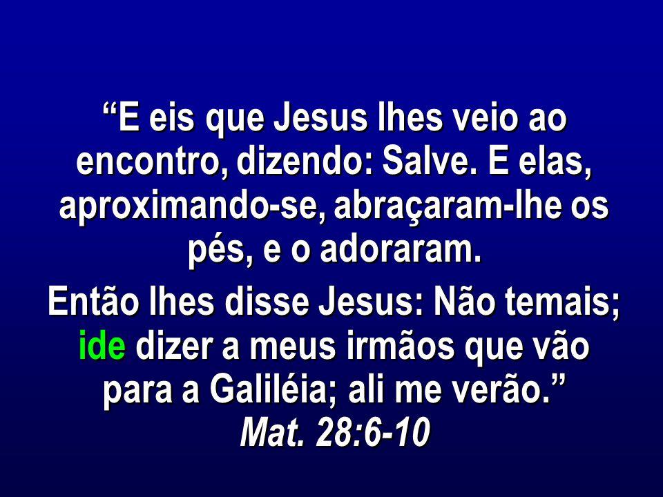 E eis que Jesus lhes veio ao encontro, dizendo: Salve