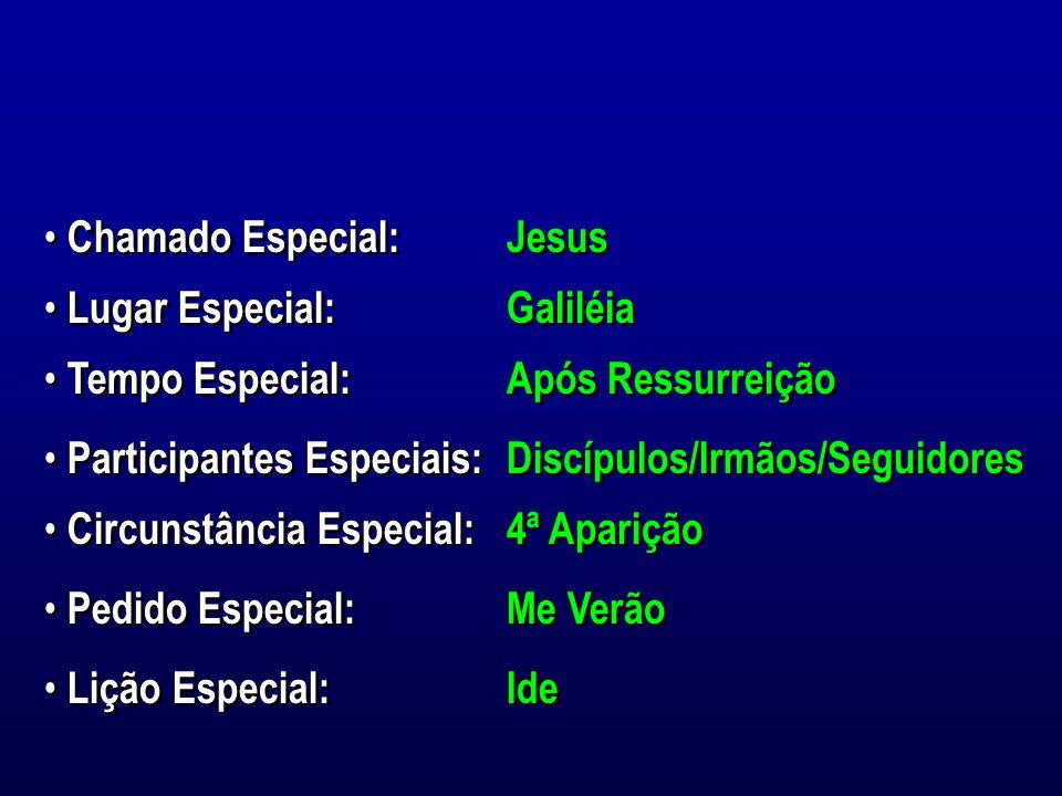 Chamado Especial: Jesus. Lugar Especial: Galiléia. Tempo Especial: Após Ressurreição. Participantes Especiais: