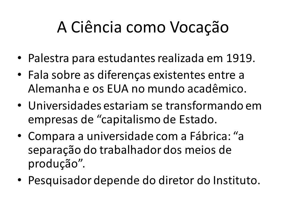 A Ciência como Vocação Palestra para estudantes realizada em 1919.