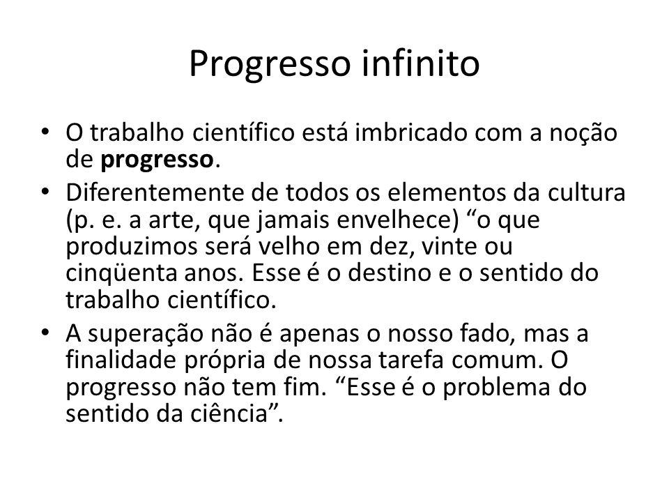 Progresso infinito O trabalho científico está imbricado com a noção de progresso.