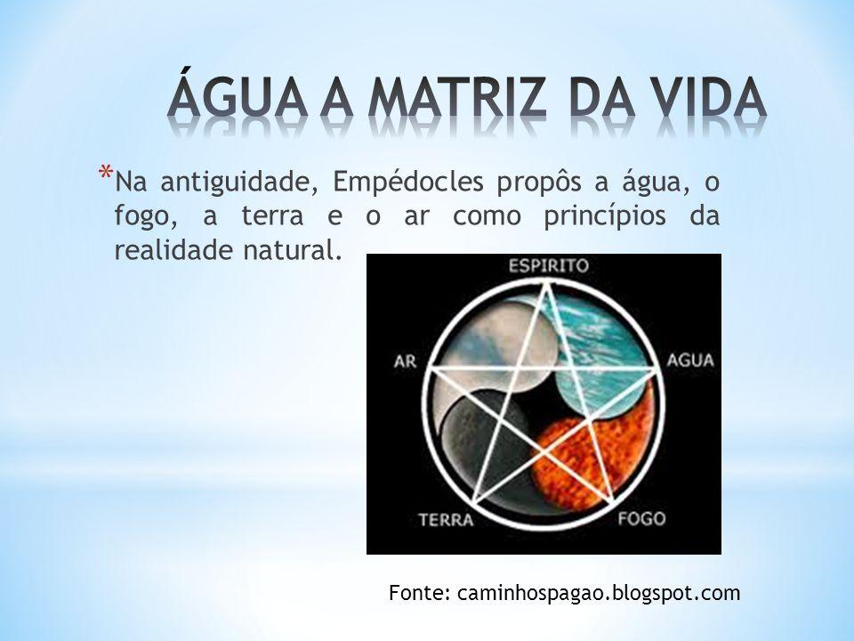 ÁGUA A MATRIZ DA VIDA Na antiguidade, Empédocles propôs a água, o fogo, a terra e o ar como princípios da realidade natural.