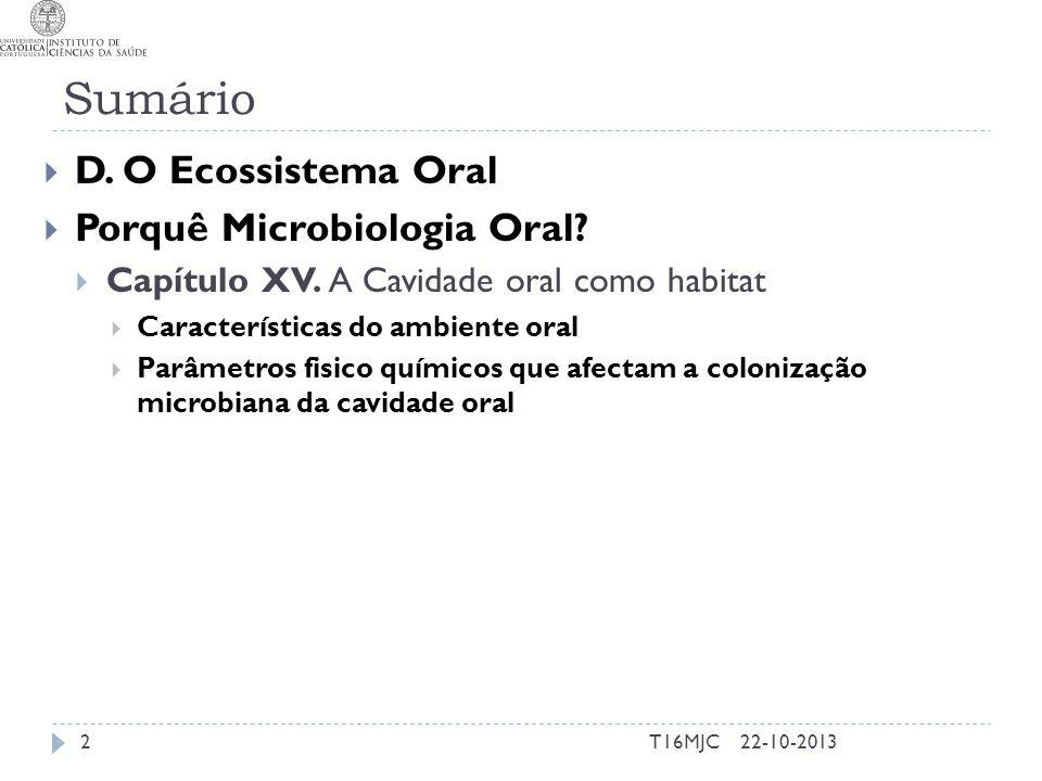 Sumário D. O Ecossistema Oral Porquê Microbiologia Oral