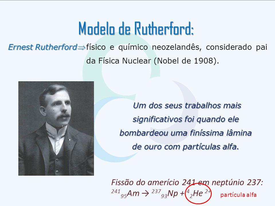 Modelo de Rutherford: Fissão do amerício 241 em neptúnio 237: