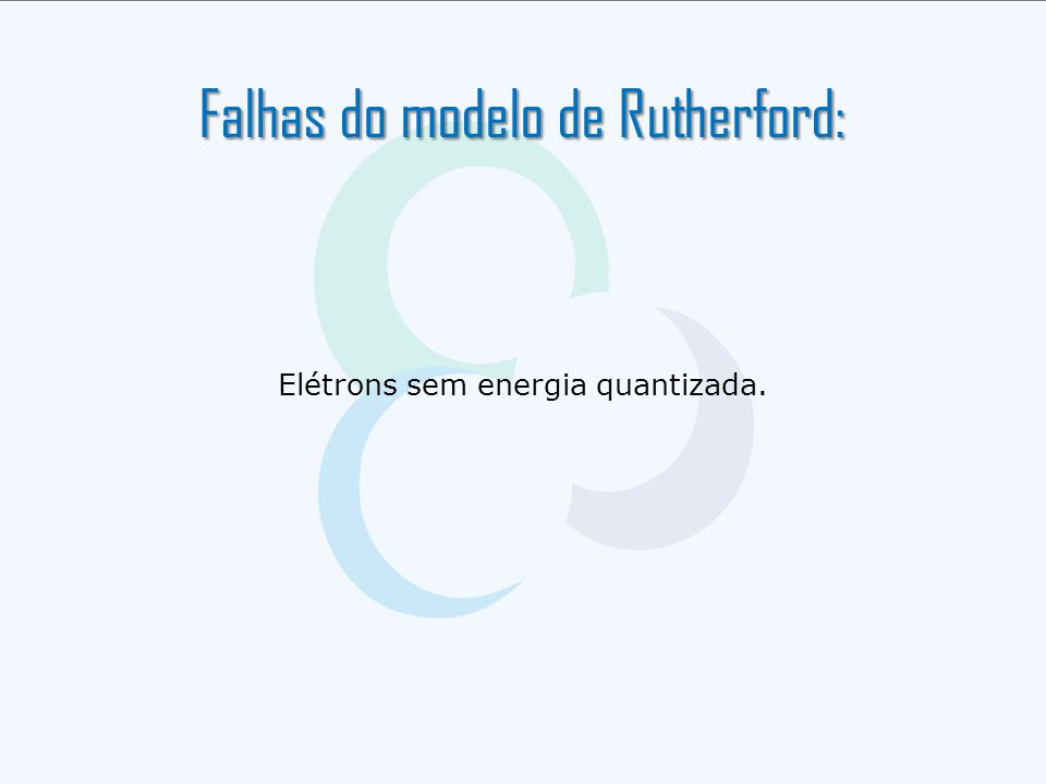 Falhas do modelo de Rutherford: