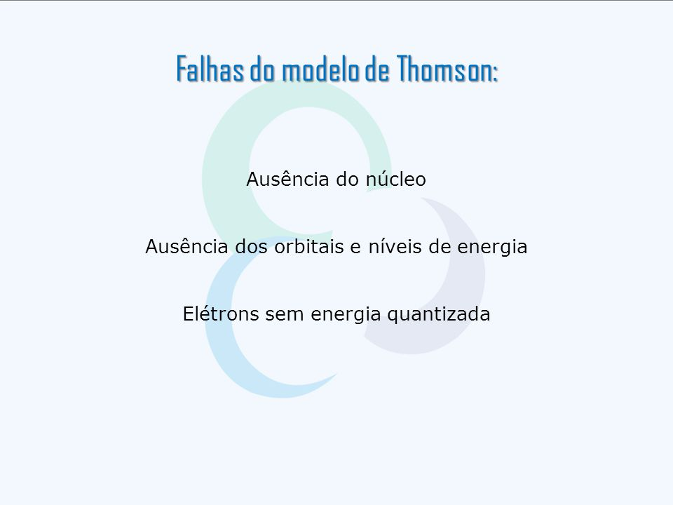 Falhas do modelo de Thomson: