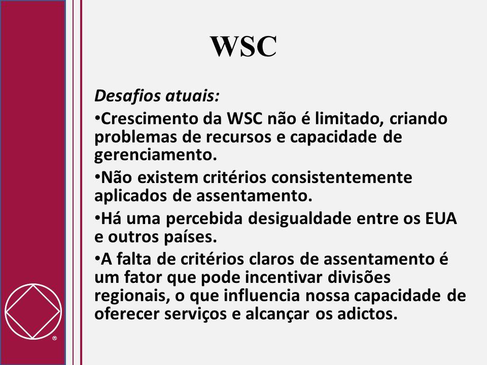 WSC Desafios atuais: Crescimento da WSC não é limitado, criando problemas de recursos e capacidade de gerenciamento.