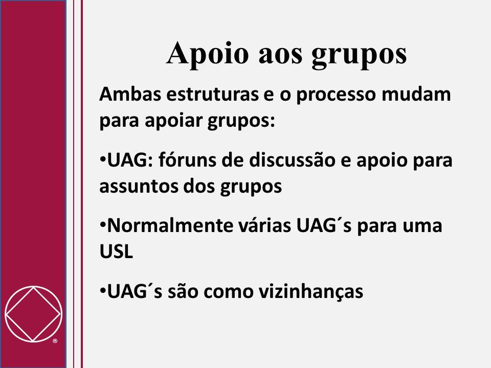 Apoio aos grupos Ambas estruturas e o processo mudam para apoiar grupos: UAG: fóruns de discussão e apoio para assuntos dos grupos.