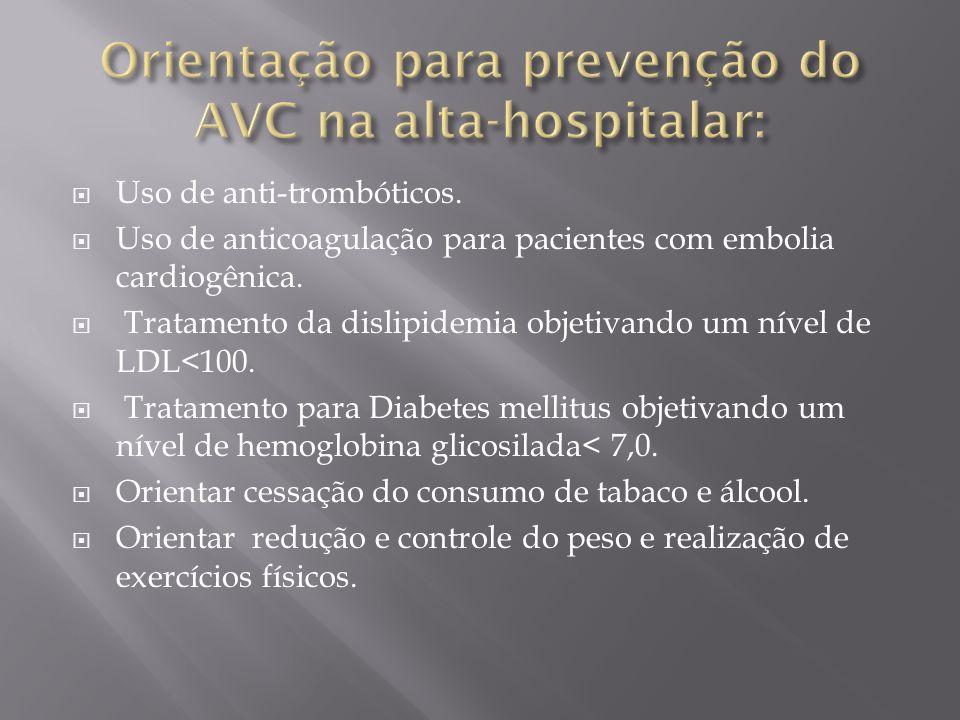 Orientação para prevenção do AVC na alta-hospitalar: